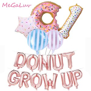 Wholesale growing baby for sale - Group buy Party Decoration Rose Gold Donut Grow UP Balloons Banner One Year Old Happy Birthday Sweet Doughnuts Foil Balons Baby Shower Supplies
