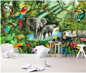 Wholesale backgrounds for wallpaper for sale - Group buy Custom Po Mural d Room Wall Paper Monkey Elephant Toucan Children s Background Murals Wallpaper For D Wallpapers