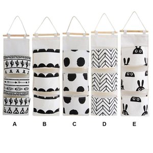 Wholesale toy organizers resale online - Black White Pattern Cotton Linen Hanging Storage Bag Pockets Wall Mounted Wardrobe Hang Pouch Cosmetic Toys Organizer Boxes Bins