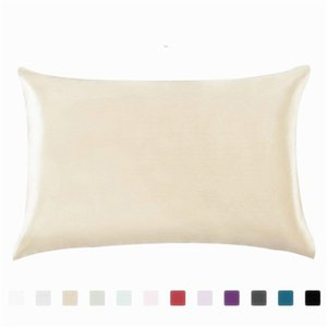 Wholesale pillow case satin resale online - 20 inch Silk Satin Pillowcase Colors Ice Silk Skin friendly Pillowslip Zipper Cover Double Face Envelope Bedding Pillow Case V2