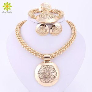 Wholesale dubai plated gold big set resale online - 2016 Latest Fashion African Jewelry Set Round Pendant Gold Plated Dubai Big Necklace Earrings Wedding Sets Gift For Women