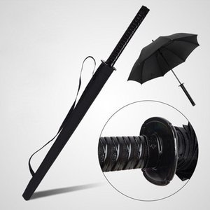 Wholesale black japanese umbrella resale online - Japanese Samurai Swords Umbrella Sunny Rainny Long handle Semi automatic Ribs Black Umbrellas SHUB S6QG