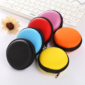Mini Earphone Bag Headset Headphone in-Ear Earbud Case Small Round Hard EVA Zipper Storage Carrying Pouch