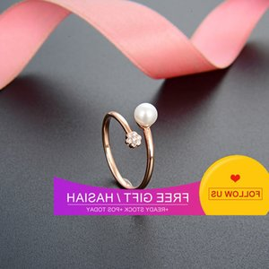 Wholesale index finger gold rings resale online - Proud love little fresh rose gold pearl female simple Korean version student index finger ring