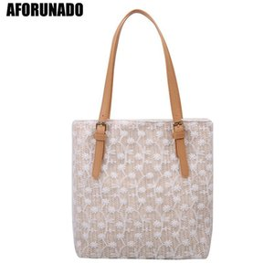 Wholesale korean large bags fashion lady for sale - Group buy New Fashion Large Capacity Lace Canvas Handbags Women Ladies Mesh Solid Casual Totes Girls Korean Style Hollow Out Shopping Bags C0401