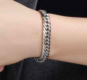 Wholesale customized stainless bracelets resale online - Miami Cuban Stainless Steel Chain Bracelets Men mm Flat Curb Bracelet Hip Hop Rock Sports Jewelry Customize