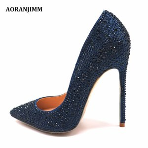 ingrosso tacchi azzurri scuro blu-Real Pic Dark Blue Blue Crystal Strass Strass a punta Donne Donne Lady Sera Party High Heel Shoes Pump