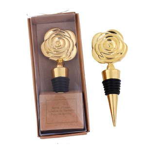 Wholesale wine package box for sale - Group buy Metal Wine Stopper Bar Tool Creative Rose Flower Shape Champagne Cork Wedding Guest Gift Crafts Gifts Box Packaging