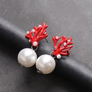 Wholesale red coral stud earrings for sale - Group buy Red Coral Deer Antler Christmas Earrings White Faux Pearl Stud Earring Fashion Xmas Gift Jewelry Holiday Party Ear Accessories