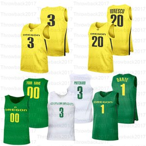 oregon camiseta de baloncesto  al por mayor-Baloncesto Custom Oregon Ducks Jerseys Payton Pritchard Bol Chris Duarte Anthony Mathis Francisk Okoro