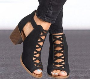 ingrosso donna scarpe amazon-Amazon Wish Style Shoes Women Commercio all ingrosso Sandali Sandali Summer Hollow Tacco