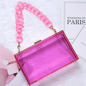 Wholesale acrylic resin clear resale online - Women Clear Acrylic Box Clutch Crossbody Bag Purse For Concert With Detachable Chain Resin Short Strap Cosmetic Bags Cases