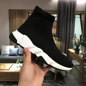 ingrosso scarpe stretching-Top Quality Black Bianco Speed Trainer Scarpe Casual Scarpe casual uomo Stivali donna Stivali con scatola Stretch Knit Race Runner Sneakers