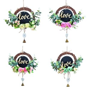 Wholesale blackboard hang resale online - Small Blackboard Artificial Wreath Simulation Garland Wedding Wall Hanging Pendant Home Party Decor Decorative Flowers Wreaths