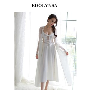 Wholesale sex long gown for sale - Group buy Sexy Women Robe Gown Set Twinset Bathrobe Night Dress Two Pieces Sheer Sleepwear See Through Long Robe Set Sex Nightwear H676 V191213