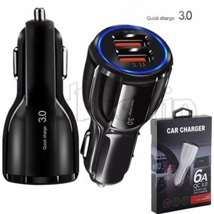 QC 3.0 Quick Car charger Dual usb ports 6A Power adapter fast adaptive car chargers for samsung s8 note 8 gps tablet