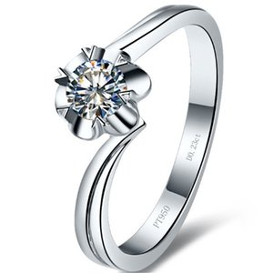 Wholesale sterling silver diamond flower ring for sale - Group buy Sterling S925 Silver CT Elegant Ring Women NSCD Simulated Diamond Jewelllery Flower Style PT950 Stamped K White Gold Plated