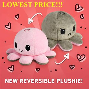 Wholesale octopus soft toys resale online - DHL Shipping Reversible Flip Octopus Stuffed Dolls Soft Double sided Expression Plush Toy Baby Kids Gift Doll Festival Birthday Party Gifts