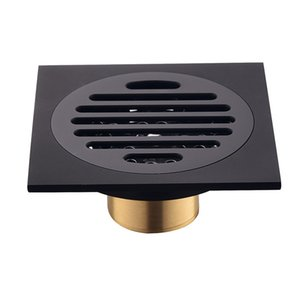 Wholesale shower inserts resale online - Modern Pure Black Invisible Shower Floor Drain Bathroom Balcony Use Brass Material Rapid Drainage Tile Insert Square Drains R2