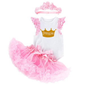 Wholesale little girls jumpsuits resale online - Girl s Dresses Little Princess Baby Girls st Birthday Outfit Lace Mesh Tutu Skirt Short Sleeve Jumpsuit Tops Crown Set For Party Wea