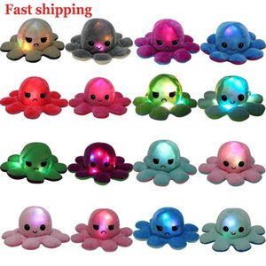 juguetes de animales para bebés al por mayor-2021 LED reversible flip octopus luminoso peluche juguete peluche luz brillo ducha de doble cara regalo de bebé flop animal