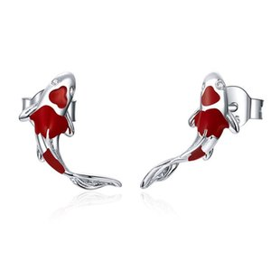Wholesale ear studs jewellery resale online - Lucky Koi Red Enamel Stud Earrings Fish Ear Studs Valentine s Day Jewellery Gift For Women Girls