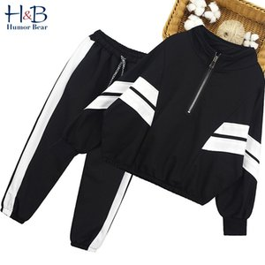 Wholesale teenagers girls clothing for sale - Group buy Girls Sports Clothes Autumn Striped Coat Pants Outfit Teenagers College Style Tracksuit for Y