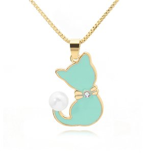 Wholesale cat tails resale online - 1pc Ladies Enamel Cat Drops Oil Zircon Pearl color Tail Necklace Animal Puppy dog Cartoon Pets Pussy Pendant Necklace jewelry R2
