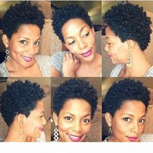 Wholesale short curly african american hairstyles resale online - High quality wigs for black women Short Curly Wigs For African American Women Hairstyle Human Hair Wigs For Black Women