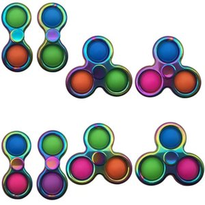 Wholesale toy spinner tops resale online - Pop It Colorful Spinning Top stainless steel fidget spinner pile bubble mind delicate children s toys