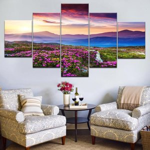 Wholesale group abstract art framed for sale - Group buy 5pcs HD Printing Canvas Painting Prairie Flowers Hill Sunset Art Group Home Decor Wall Poster Modular Photos
