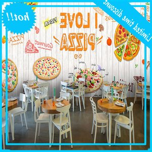 Wholesale backgrounds wood resale online - I Love Pizza Theme Mural White Wood Plank Textured Wallpaper D Fast Western Restaurant Background Decor Wall Paper