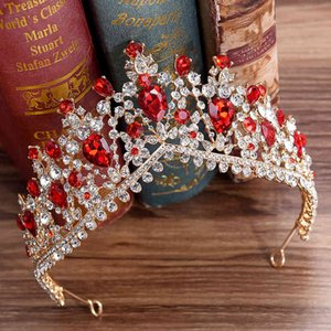 Wholesale european jewelry newest designs for sale - Group buy Newest Design European Red Crystal Crown Headwear Bridal Wedding Hair Accessories Jewelry Bride Tiaras Princess Crowns