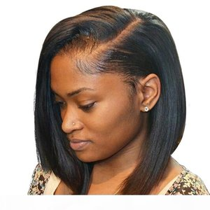 Wholesale side part short hair black women for sale - Group buy Cheap Human Hair Lace Front Wigs Bob Side Part Virgin Brazilian Glueless Full Lace Human Hair Wig Short For Black Women Baby Hairs