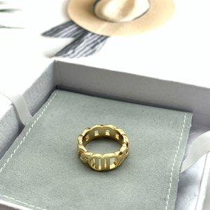 Wholesale gold wedding bands for sale - Group buy Fashion gold letter band rings bague for lady women Party wedding lovers gift engagement jewelry With BOX