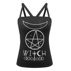 Wholesale sexy girls mooning resale online - Gothic Womens Camis Girl Black Strappy Cotton Tank Top Letter Witch Symbol Moon Pentagram Print Backless Feminino Sexy