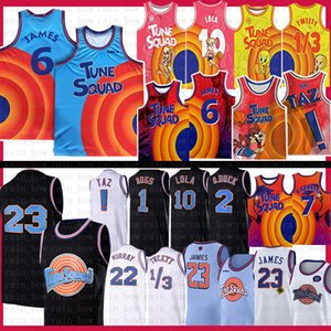 jerseys de basquete juvenil venda por atacado-Filme Space Jam Tune Squad Bugs Lebron James Jersey Jersey Jesefrom Mens Azul Bill Murray Lola D Duck Taz Tweety