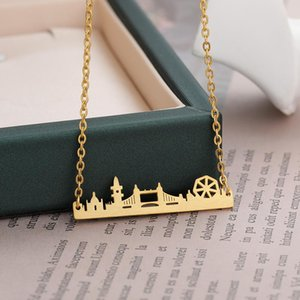 collares pendientes uk al por mayor-Londres Skyline Necklace Reino Unido Paisaje urbano delicado Collares Colgantes para Mujeres Joyería de moda Accesorios de acero inoxidable Friend regalos Chokers