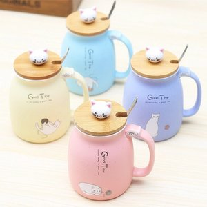 Wholesale coffee cupping spoon for sale - Group buy Cartoon Ceramics Cat Mug With Lid and Spoon Coffee Milk Tea Mugs Breakfast Cup Drinkware Novelty Gifts WLL735