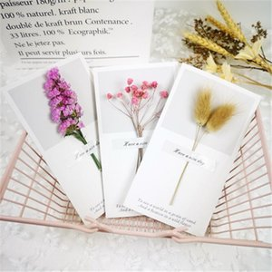 Wholesale birthday cards resale online - Flowers Greeting Cards Gypsophila dried flowers handwritten blessing greeting card birthday gift card wedding invitations GGA5022