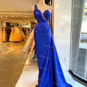 Wholesale sexy girls robe for sale - Group buy Sexy One Shoulder Royal Blue Prom Dresses For Black Girls Elegant Mermaid Satin Evening Dress Plus Size Women Formal Party Gowns Ruched Robe De Soirée