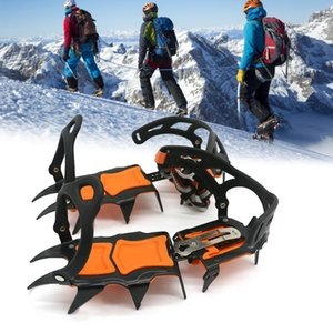 gelo com ponta venda por atacado-Dentes Gelo Crampons Winter Snow Boot Sapatos Gripper Anti Skid Spikes Traction Cleats Montanhismo Cabos De Sapato Slings e Webbing