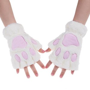 Wholesale white claw costume resale online - Lovely Women Cat Claw Mitten Plush Glove Costume Cute Winter Warm Half Finger Gloves Female Five Fingers