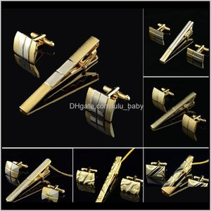 Wholesale pin cufflinks set for sale - Group buy Gold Clip And Cufflink Set For Men Classic Meter Clips Cufflinks Sets Copper Bar Golden Tie Collar Pin Jewelry Vi6 Iv3B Cuff Links C5Fb