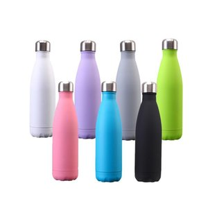 Wholesale water bottle insulation sleeves resale online - 17OZ Rubber paint Water Cup Insulation Mug ML Vacuum Bottle Sports Stainless Steel Bowling Shape Travel Mugs W76