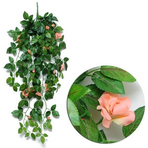 Wholesale artificial flowering plants resale online - Artificial Hanging Rose Flowers Garden Decoration Colors Eco friendly Leaf Garland Plants Vine Leaves DIY For Home Wedding Party GWD5988