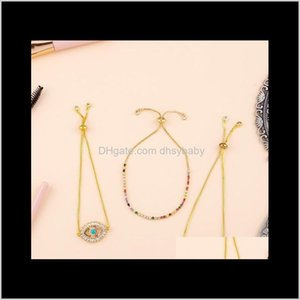 Wholesale gold pulls for sale - Group buy Bracelets Drop Delivery Style Jewelry Evil Eyes Pull Bracelet Womenpaved Rainbow Colorful Zircon Cz Charm Gold Chic Chain For Woman Link