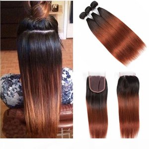 Wholesale 1b 33 ombre brazilian hair for sale - Group buy Ombre Brazilian Straight Human Hair Bundles With X4 Lace Closure Two Tone Colored B Auburn Human Hair Weave With Closure