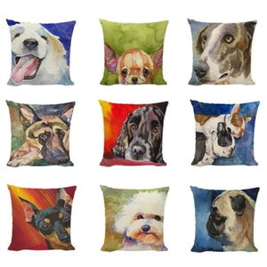 Wholesale pug cushions resale online - Cuteness Golden Retriever Chihuahua Painting Dogs Decorative Cushion Cover Polyester Fabric Shih Tzu Pug Gifts Throw Pillow Case Cushion Dec