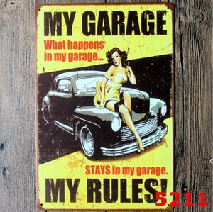 garage homme caves achat en gros de-news_sitemap_homePanneaux en métal Signes Sinclair Moteur Huile Texaco Poster Accueil Bar Decor Art Mur Art Photos Vintage Garage Sign Man Cave Rétro Signes x30CM DHE60404040